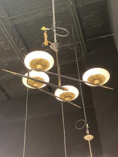 Italian Modern Brass Metal and Frosted Glass 4 light Chandelier Stilnovo - 2094097