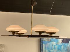 Italian Modern Brass Metal and Frosted Glass 4 light Chandelier Stilnovo - 2094099