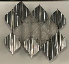 Italian Modern Handblown Glass and Polished Stainless Steel Wall Light Mazzega - 2098196