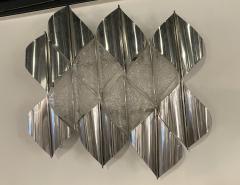 Italian Modern Handblown Glass and Polished Stainless Steel Wall Light Mazzega - 2098197