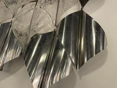 Italian Modern Handblown Glass and Polished Stainless Steel Wall Light Mazzega - 2098200