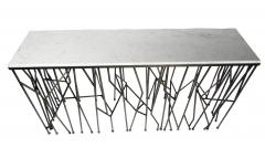 Italian Modern Marble Top Steel Console Memphis Movement - 665290