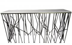 Italian Modern Marble Top Steel Console Memphis Movement - 665313