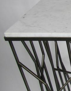 Italian Modern Marble Top Steel Console Memphis Movement - 665319