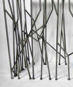 Italian Modern Marble Top Steel Console Memphis Movement - 665320