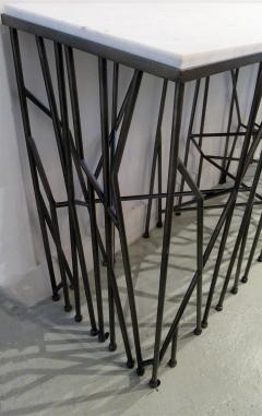 Italian Modern Marble Top Steel Console Memphis Movement - 665609