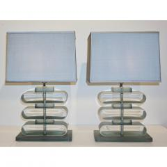 Italian Modern Pair of Nickel and Smoked Aqua Murano Glass Architectural Lamps - 1042887