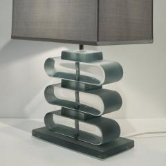 Italian Modern Pair of Nickel and Smoked Aqua Murano Glass Architectural Lamps - 1042888