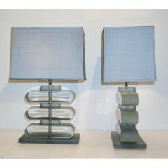 Italian Modern Pair of Nickel and Smoked Aqua Murano Glass Architectural Lamps - 1042889