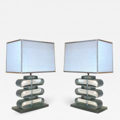 Italian Modern Pair of Nickel and Smoked Aqua Murano Glass Architectural Lamps - 1043832