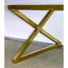 Italian Modern X Frame Handcrafted Brass and Black Glass Coffee Table - 1146244
