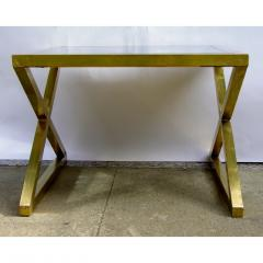 Italian Modern X Frame Handcrafted Brass and Black Glass Coffee Table - 1146248