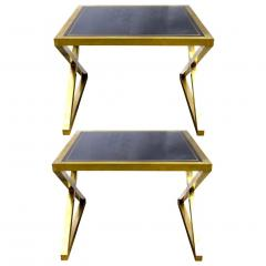 Italian Modern X Frame Handcrafted Brass and Black Glass Coffee Table - 1146249