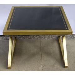 Italian Modern X Frame Handcrafted Brass and Black Glass Coffee Table - 1146250