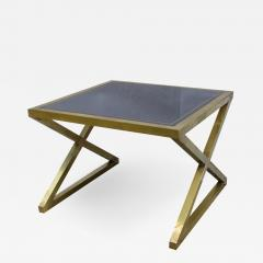 Italian Modern X Frame Handcrafted Brass and Black Glass Coffee Table - 1146547