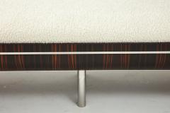 Italian Modernist Vintage Macassar Ebony and Chrome Long Upholstered Bench - 2132970