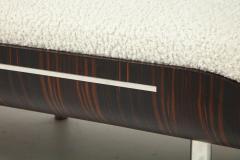 Italian Modernist Vintage Macassar Ebony and Chrome Long Upholstered Bench - 2132972