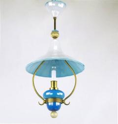 Italian Murano Blue and White Cased Glass Hooded Pendant Chandelier - 277082
