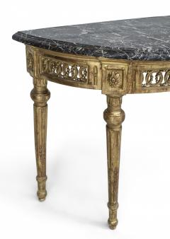 Italian Neo Classic Style Gilt Marble Top Console Table - 1428671