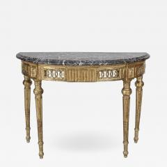 Italian Neo Classic Style Gilt Marble Top Console Table - 1430528