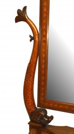 Italian Neo classic Walnut and Inlaid Cheval Mirror - 744076