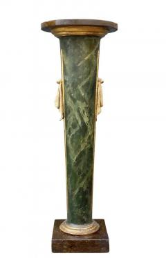 Italian Neoclassic Green Painted And Giltwood Pedestal - 1759897