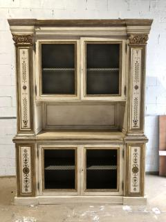 Italian Neoclassic Style Cream Painted and Parcel Gilt Breakfront Bookcase - 1464969