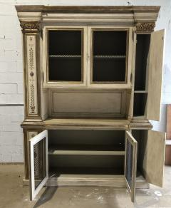Italian Neoclassic Style Cream Painted and Parcel Gilt Breakfront Bookcase - 1464976