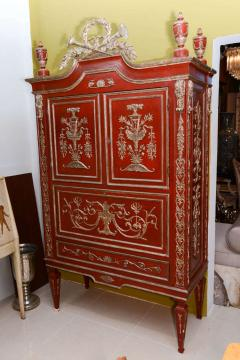 Italian Neoclassic Style Scarlet Painted and Silver Gilt Cabinet - 422634