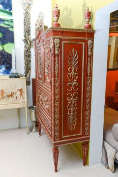 Italian Neoclassic Style Scarlet Painted and Silver Gilt Cabinet - 422639