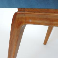 Italian Organic 1940s Wooden Bench and Blue Velvet - 1528742