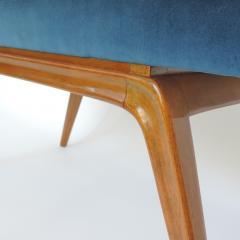 Italian Organic 1940s Wooden Bench and Blue Velvet - 1528744