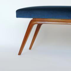 Italian Organic 1940s Wooden Bench and Blue Velvet - 1528745