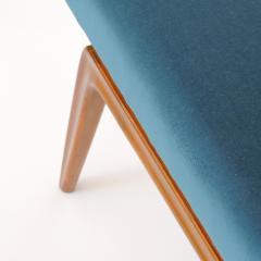 Italian Organic 1940s Wooden Bench and Blue Velvet - 1528746