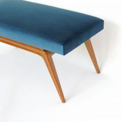 Italian Organic 1940s Wooden Bench and Blue Velvet - 1528748