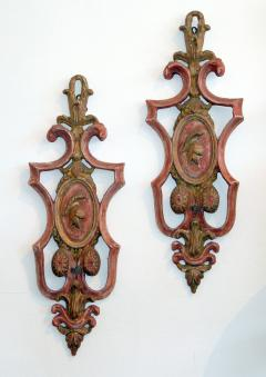 Italian Pair of Painted and Giltwood sconces - 1035943