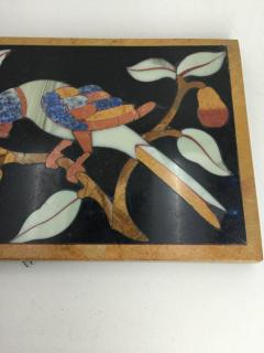 Italian Pietre Dure Panel of Parrot on Branch Late 17th Century - 1089119