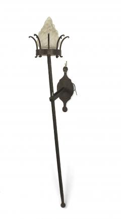 Italian Renaissance Style Wrought Iron and Glass Torch Wall Sconces - 1398973