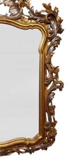 Italian Rococo Style Carved Wood Gilded and Silvered Mirror - 1295133