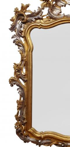 Italian Rococo Style Carved Wood Gilded and Silvered Mirror - 1295134
