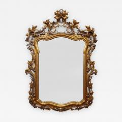 Italian Rococo Style Carved Wood Gilded and Silvered Mirror - 1298627