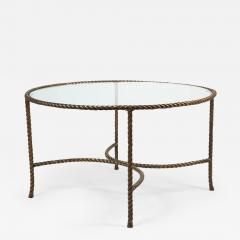 Italian Round Solid Bronze Rope and Tassle Cocktail Table - 777247