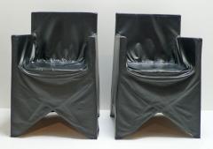 Italian School Black Leather Chairs - 208888