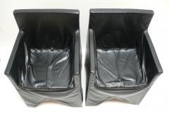Italian School Black Leather Chairs - 208889