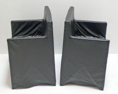 Italian School Black Leather Chairs - 208891
