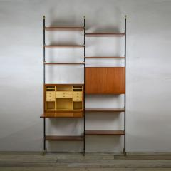 Italian School Bookcase with Shelves and Cabinets in Wood and Brass Italian School - 1928694