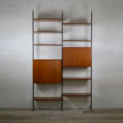 Italian School Bookcase with Shelves and Cabinets in Wood and Brass Italian School - 1928695