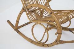 Italian School Italian Vintage Bamboo Rocking Chair 1950s - 2138836