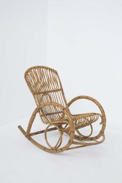 Italian School Italian Vintage Bamboo Rocking Chair 1950s - 2138837
