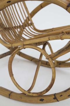 Italian School Italian Vintage Bamboo Rocking Chair 1950s - 2138839
